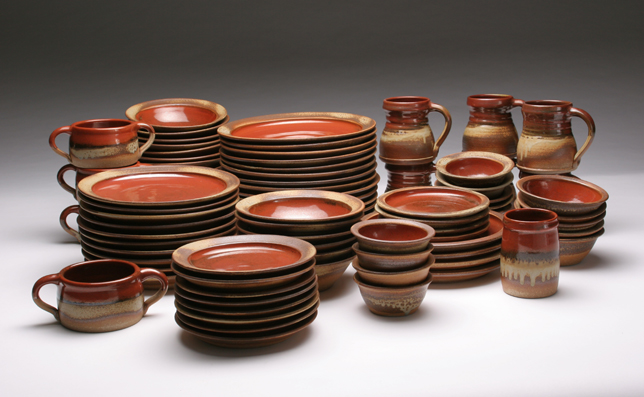 Dinnerware Set in Persimmon Glaze with Ash & Pine Mills Pottery